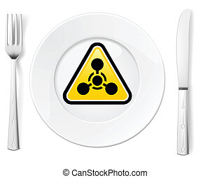 Dangerous food symbol represented by a Fork and Knife with a...