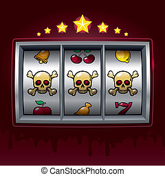 Dangerous game - Slot machine with three skulls. Eps8. CMYK....