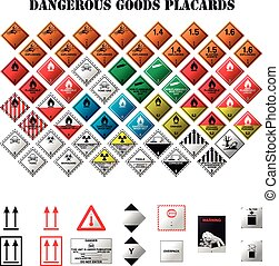 dangerous goods placards - set of dangerous goods placards...