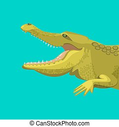 Dangerous green alligator is showing his teeth