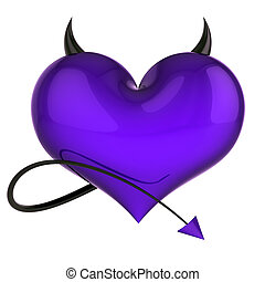 dangerous heart shape of devil purple with black horns and tail