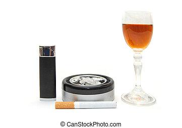 Dangerous items - cigarette, cognac, lighter