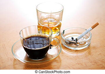 Dangerous items - Three dangerous items: coffee, cigarette...