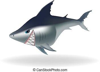 Dangerous looking cartoon shark