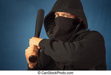 Dangerous man - Dangerous hooligan with baseball bat ready...