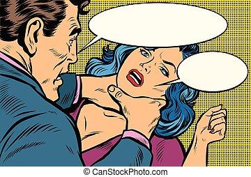 dangerous maniac attacks woman. Pop art retro vector ...