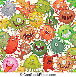 Dangerous microorganisms. Seamless pattern. Vector...