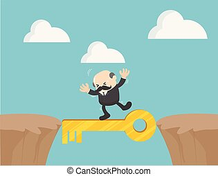 Dangerous path success. Concept business  vector illustration,