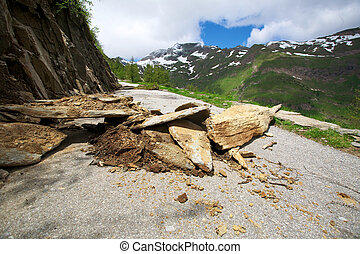 Dangerous road in the mountains of Switzerland