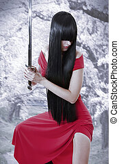 dangerous sexual mystery asian girl. Anime style woman with long black hair with sword and red seductive dress