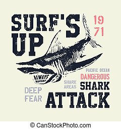 Dangerous shark illustration with typo for t shirt and other...