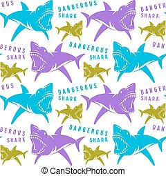 Dangerous sharks seamless pattern