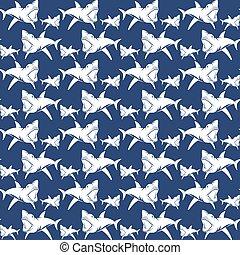 Dangerous sharks seamless pattern