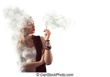 Dangerous smoking - Woman smokes a cigarette in a cloud of...