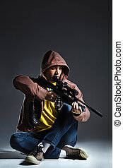 dangerous sniper with the rifle
