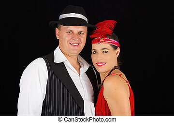 Dangerous standing bonny and clyde gangsters with 1920 clothes s