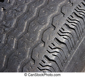 Dangerous Tread Wear - Automobile tire with dangerous tread...