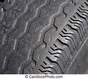 Dangerous Tread Wear - Automobile tire with dangerous tread...