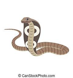 Dangerous wild animal, reptile, poisonous cobra icon