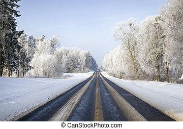 Dangerous winter road.