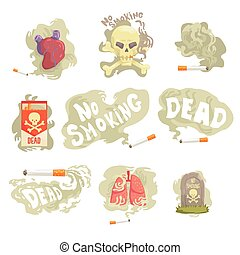 Dangers and risk from smoking set of vector Illustrations
