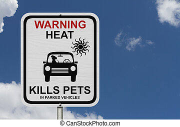 Dangers of leaving a dog in parked cars, A white road sign with the message of the danger with blue sky