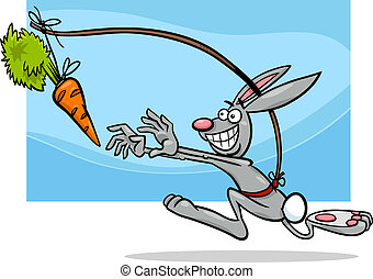 dangling a carrot saying cartoon - Cartoon Humor Concept...