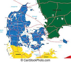 dania, mapa