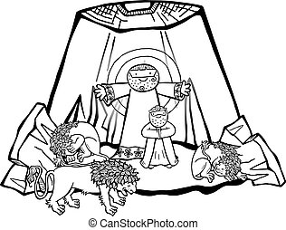 Daniel in the Lions Den - Cartoon illustration of Daniel in ...
