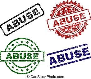 danificado, abuso, selos, textured, selo