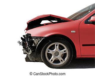 danificado, acidente, car, após, isolado, branca
