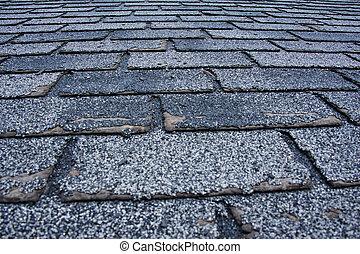 danificado, granizo, telhado