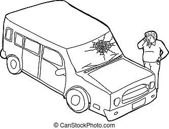danificado, homem, esboço, veículo