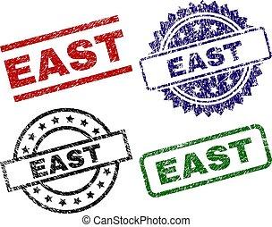 danificado, leste, selos, textured, selo