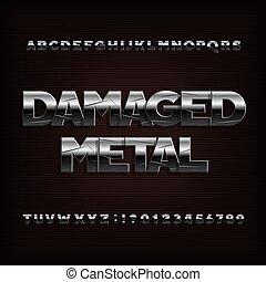 danificado, letras, cromo, alfabeto, metal, efeito, numbers., font.