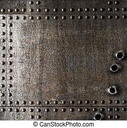 danificado, metal, fundo, com, buracos bala