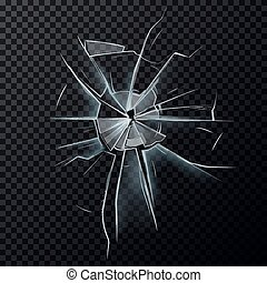 danificado, tela, quebrada, janela, glassware, ou