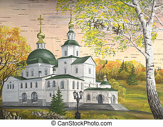 Danilov Monastery, Moscow, Russia - Drawing distemper on a...