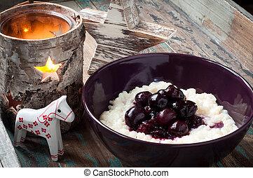 danish, 쌀 푸딩, 정점에 있다, 와, 신선한, blueberries.
