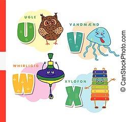 Danish alphabet. Owl, jellyfish, pinwheel, xylophone. Vector...