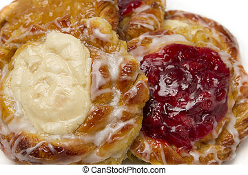 Close up of breakfast danish with cherries and cheese