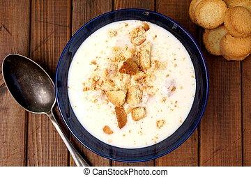 Danish cold buttermilk soup Koldskal - Danish speciality:...