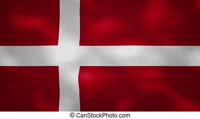 Danish dense flag fabric wavers, background loop - Denmark ...