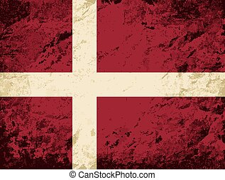 Danish flag Grunge background.