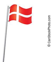 Danish flag on a flagstaff vector illustration
