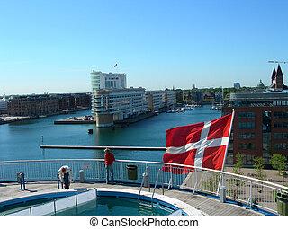 Copenhagen - Danish flag on ship in Copenhagen