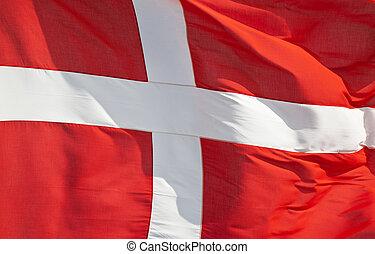 National flag of denmark flying in the wind