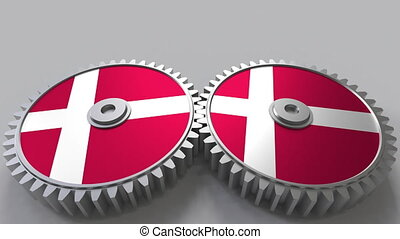 Danish national project. Flags of Denmark on moving...