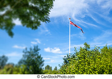 Danish pennant on a white flagpole