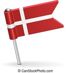 Danish pin icon flag. Vector illustration